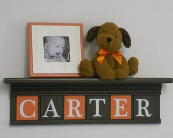 Orange Brown Nursery Decor | Baby Boy Gift | Personalized Chocolate Brown Shelf with Wood Wall Letters