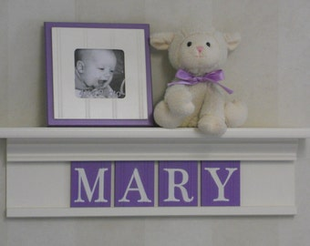 "Purple Nursery Decor 24"" White or (Off White) Shelf with 4 Wooden Letter Plaques Lilac - MARY"