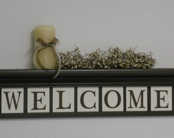WELCOME Entryway Shelf - Wall Decor Sign - Chocolate Brown Shelf with Wooden Letter Plaques - WELCOME - Personalized Shelves and Signs
