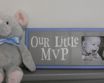 Blue and Gray Nursery Decor - Baby Boy Nursery Sports Photo Frame with Grey Sign - OUR LITTLE MVP