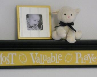 "Yellow Nursery - Most Valuable Player - Yellow Sign on 30"" Black Shelf - Football Sport Wall Decor Baby Nursery"