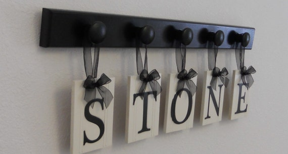 Unique Wedding Gift Idea Family Name Hanging Wood Sign Set Includes Name STONE and 5 Wooden Hooks Black