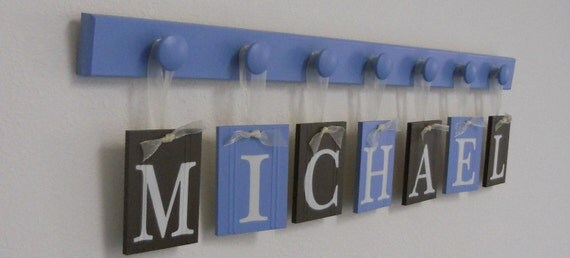 Brown and Blue Wooden Baby Nursery Wall Letters Includes Name MICHAEL and 7 Wood Pegs