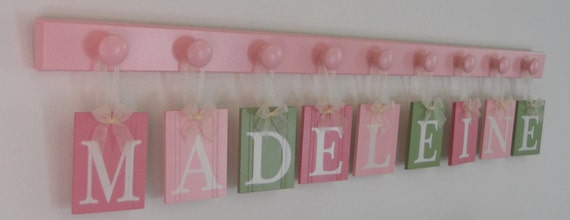 Nursery Room Decor Letters for the Wall.  Set includes Name Letters MADELEINE and 9 Hooks Pastel Green and Pinks