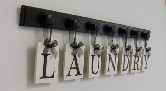 Laundry room sign wall decor personalized hanging letters - Laundry room wall decor ...