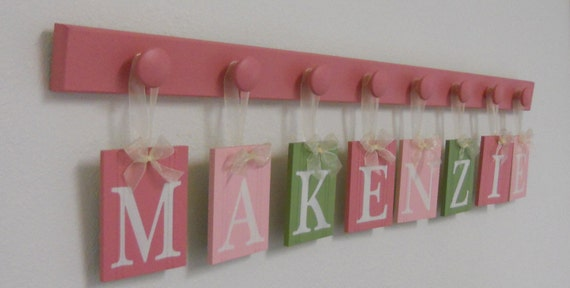 Green and Pink Baby Nursery Decor for Girl - MAKENZIE 8 Wood Hooks Baby Nursery Decore Hanging Wall Letters