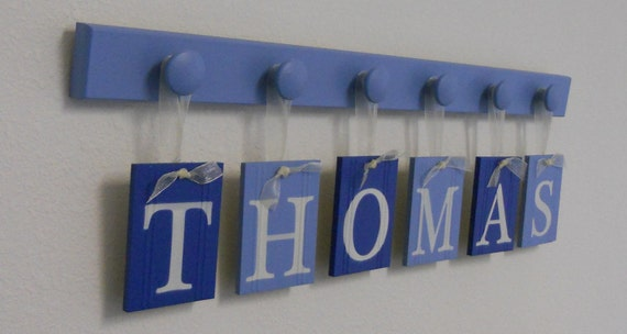 Alphabet Letters Boy Baby Name Sign Personalized for THOMAS and 6 Wooden Knobs in Blue. Nursery Wall Art
