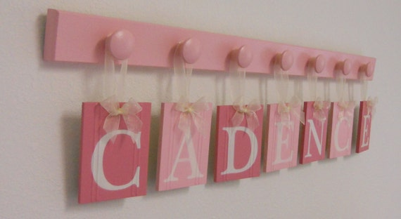 Alphabet Art for Nursery Hanging Letter Name Sign Set Includes 7 Wooden Pegboard Painted Pink. Personalized Letters for Princess CADENCE