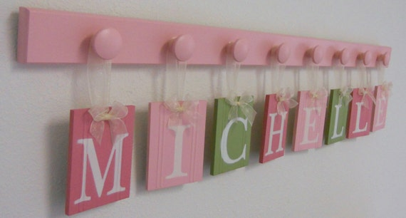 Baby Name Wall Hanging Letters Custom for MICHELLE - 8 Wood Hooks Pink and Green Nursery