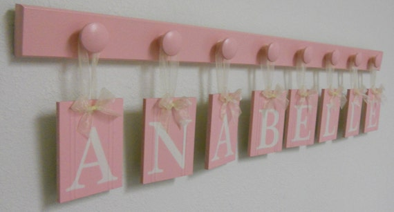 Baby Girl Gift Pastel Pink Baby Girl Nursery Name Personalized for ANABELLE 8 Wooden Hooks