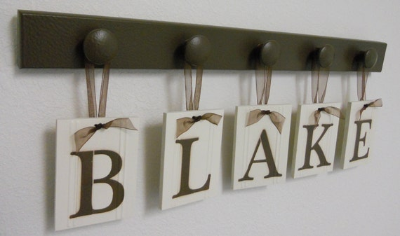 Baby Boy Room Decorations Hanging Wood Plaque - BLAKE Includes 5 Hooks Chocolate Brown. Baby Name Art Nursery Decor