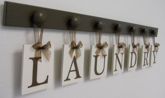 bath sign custom hanging letters brown ribbon wall letters laundry room decor personalized hanging wall by nelsonsgifts 748