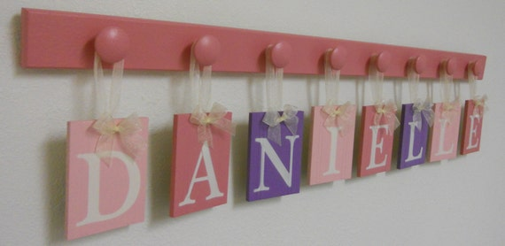 bath sign custom hanging letters brown ribbon wall letters pink and purple baby name wall hanging ribbon letter sign 748
