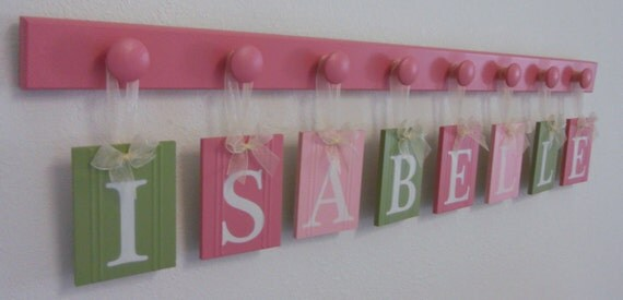Baby Name Wall Hanging Sign Set Includes Wooden Pegs Painted Pinks and Light Green. Custom Hanging Name Letters