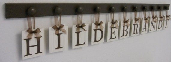 Personalized Housewarming Gift Hanging Wooden Letters Last Name for HILDEBRANDT with 11 Pegs Painted Chocolate Brown