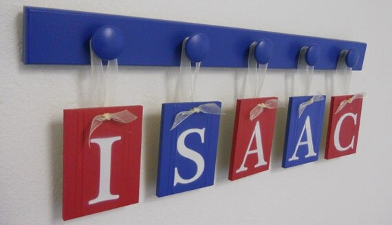 1st BABY GIFT, Custom Name Set in Blue and Red Includes Wood Hooks, Toddler Gift, Personalized Kids Nursery Decor Gift