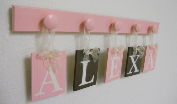 Personalized Baby Girls Room Wall Decor with 5 Peg and Name ALEXA Pastel Pink and Brown.