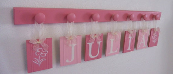 Wooden Letters Nursery Art Decoration for JULIA with FLOWERS includes 7 Wooden Pegs Painted Pink