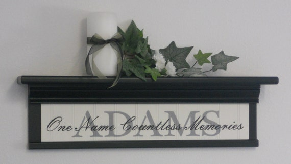 """PERSONALIZED Name Shelf & Sign - 24"""" Black Shelf and Family Name Sign - One Name Countless Memories - Custom Wall Decor Gift"""