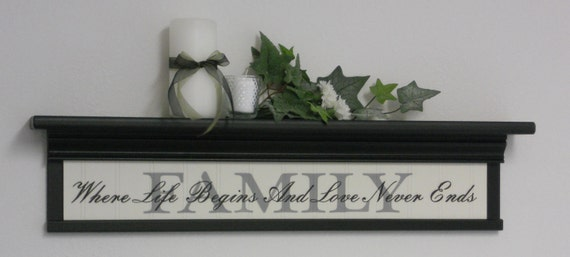 "FAMILY - Where Life Begins And Love Never Ends - Home Decor 30"" Black Shelf with Painted Motivational Quote for Living Room - Wall Decor"