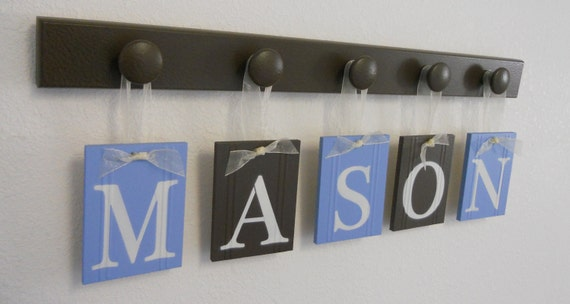 Children Baby Name Wall Hanging for MASON Set includes 5 Wood Pegs Painted Light Blue and Chocolate Brown