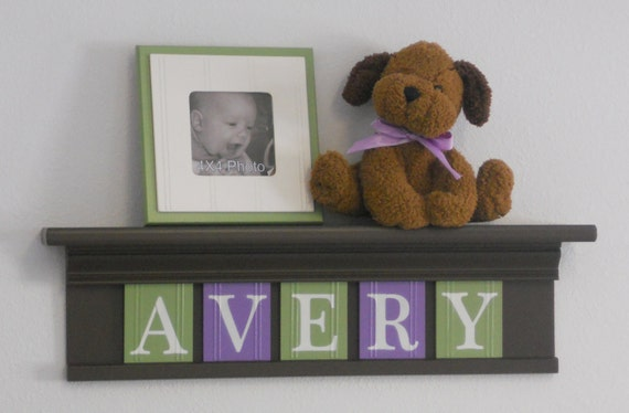 "Children's Decor - Nursery Decor 24"" Shelf With 5 Wooden Letters Plaques Chocolate Brown, Purple and Green - AVERY"