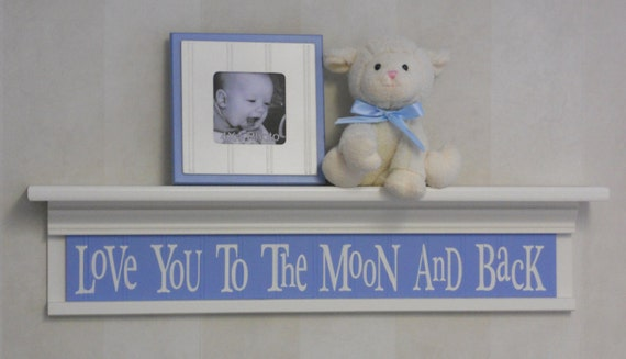 """Blue and White Nursery Decor - Baby Boy Wall Decor Soft Pastel Colors 30"""" Shelf - Love You To The Moon And Back"""