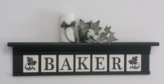 """Personalized Family Names and Signs 30"""" Black Shelf with 7 Wooden Letter Tiles Painted linen White BAKER with Bold Ivy Leaves Design Tiles"""
