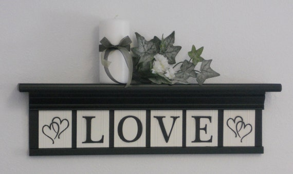 "Personalized Family Name Signs 24"" Shelf with 6 Wooden Letter Tiles Painted Black and White Customized LOVE with Hearts"