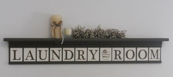 "LAUNDRY ROOM Shelf & Sign - Wall Decor - 42"" Chocolate Brown Shelf - 12 letter blocks  - Laundry Room, Washboard and Bucket - Decor Wall Art"