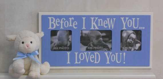 Baby Boy Nursery Decor Light Blue Shabby Chic Picture Frame Gift - Before I Knew You ... I Loved You
