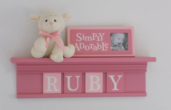 "Personalized Children Nursery Decor 24"" Pink Shelf with 4 Letter Wooden Tiles Painted Pink and Light Pink - RUBY"