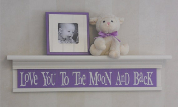"""Purple Decor - Love You To The Moon And Back - Sign on 30"""" Shelf Linen (Off White) and Lilac, Whimsical Nursery Wall Decor"""