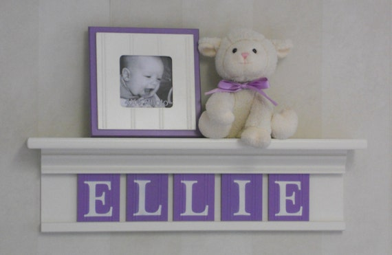 """Personalized Children Nursery Decor 24"""" Shelf With 5 Letter Wooden Tiles Painted Linen White and Lilac - ELLIE"""