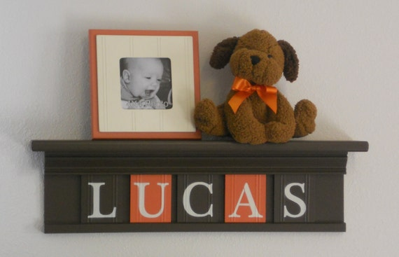 "Orange and Brown Wood Shelf Sign Personalized for LUCAS - 24"" Shelf - 5 Wooden Letters - Boy Nursery Decor"