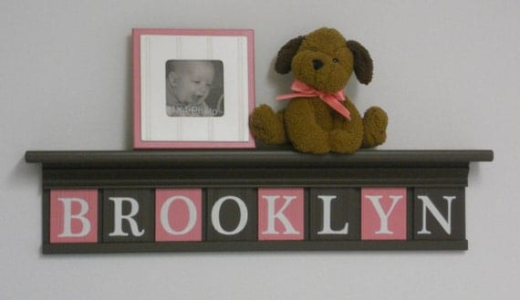 """BROOKLYN - New Baby Gift - Baby Gifts for Girl Personalized Sign Nursery Wall Decor - 30"""" Shelf with 8 Wood Letter  Brown and Pink"""