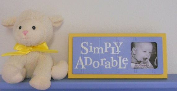 Baby Blue and Yellow - Baby Boy Nursery Decorations - Sign Picture Frame - Nursery Wall Art - SIMPLY ADORABLE