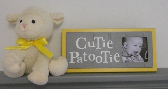 Yellow Gray Nursery Art Photo Frame Sign Yellow Baby Girl Nursery Decor Gift - CUTIE PATOOTIE