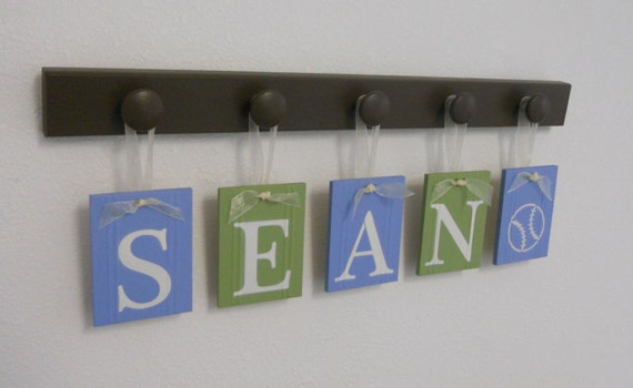 Custom Name Sign for SEAN with a BASEBALL 5 Wooden Peg Brown, Light Green and Light Blue
