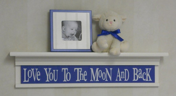 """Blue and White Nursery Decor - Baby Boy Wall Art Linen (Off White) 30"""" Shelf - Love You To The Moon And Back"""