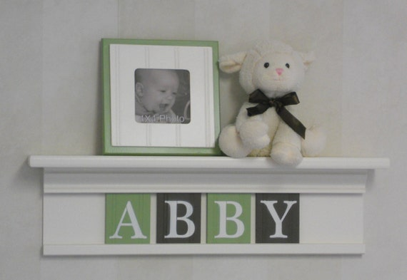 "Green Brown Nursery Art Children Name Nursery Decor 24"" Shelf Sign 4 Wooden Letters Personalized for ABBY"