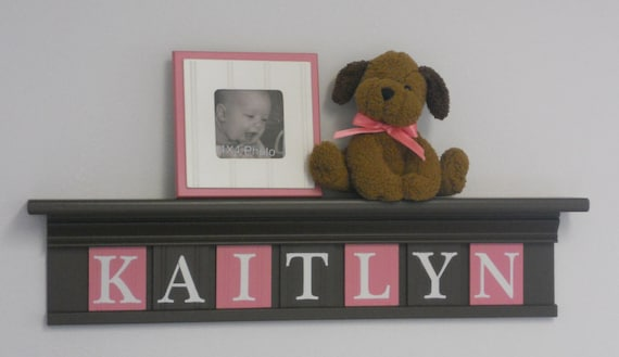 "Pink and Brown Baby Girl Nursery Decor 30"" Shelf - Sign - 7 Wooden Wall Letters Personalized for KAITLYN"