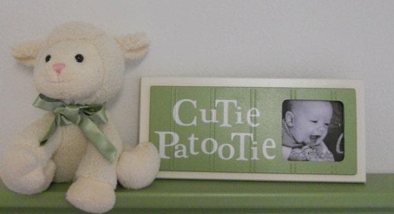 Green Baby Nursery Art Photo Frame Sign Soft Green Baby Nursery Decor Gift - CUTIE PATOOTIE