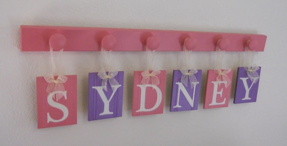 Purple and Pink Baby Name Plates Wall Hanging Custom Sign Set Includes Letters SYDNEY 6 Wooden Hangers in Pink and Purple