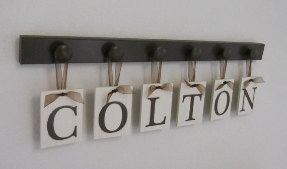 Alphabet Letters Hanging Ribbon Monogram Set Includes 6 Wood Peg Rack in Chocolate Brown.  Custom Wooden Wall Letters for COLTON