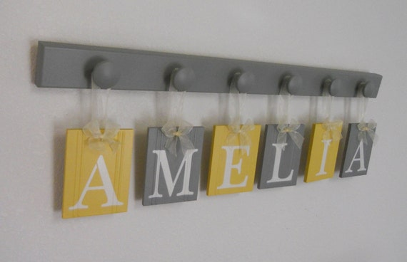 Baby Girl Wooden Letters Sign Includes Personalized Alphabet Wall letters and 6 Pegs Soft Gray and Yellow - AMELIA