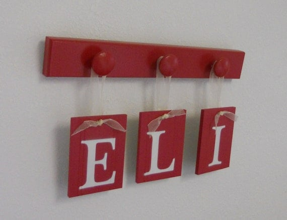 Red Nursery Wooden Wall Letters Sign Wall Set - ELI - 3 Wood Pegs Painted Red.  Custom Alphabet Wooden Letters