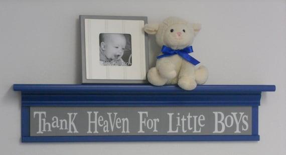 "Nursery Shelving - Thank Heaven For Little Boys - Sign on 30"" Shelf Blue and Gray Nursery Wall Decor"