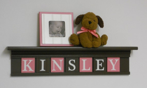 Custom Children Decor - Nursery Decor Name Shelf with Letter Wooden Tiles Painted Chocolate Brown and Pink