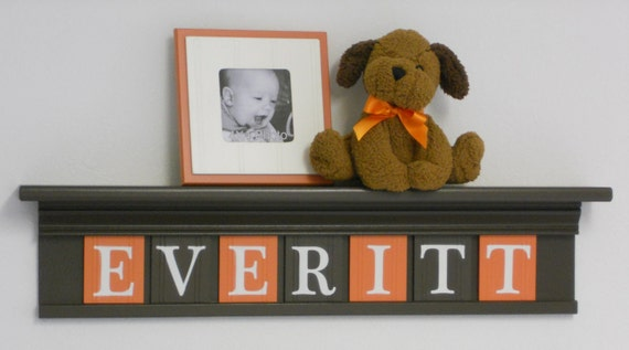 "Orange and Brown Baby Boy Nursery Wall Decor  - Custom Name - EVERITT on 30"" Shelf - 7 Letter Wooden"